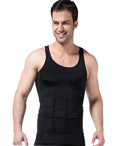 FEOYA - Hombre Camiseta con Faja Abdominal Entallada Chaleco Interior Reductora Moldeadora Adelgazante Suave Transpirable para Verano - Negro - L