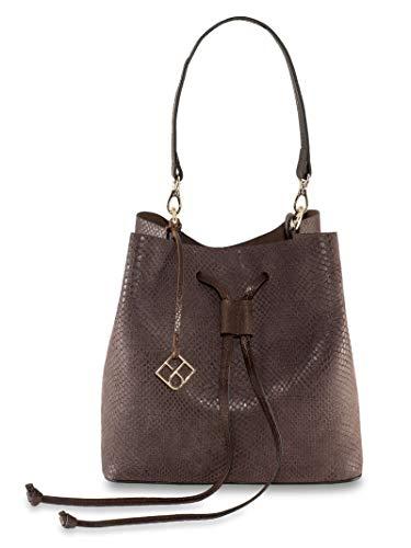 YOUBAG Alya Bucket S - handgefertigte Designer Umhängetasche für Damen aus italienischem Leder - edle Schlangenoptik in braun