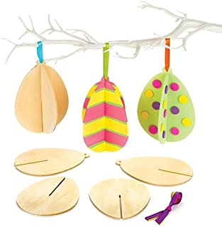 Baker Ross Ltd Wooden 3D Easter Eggs - Easter/Spring Party Bag Filler or Gift for Kids (Pack of 6)