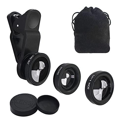 YACSEJAO Kit obiettivo 3 in 1 per fotocamera del telefono cellulare, obiettivo grandangolare, obiettivo macro, clip per obiettivo fisheye per smartphone e tablet
