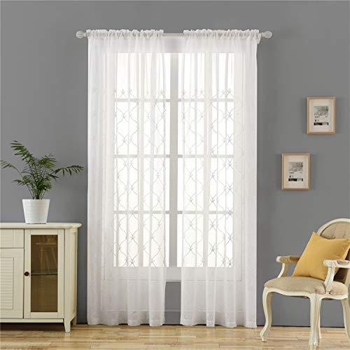 """Dreaming Casa Damask Embroidered White Sheer Curtains Rod Pocket European Retro Style Window Treatment Drapes for Living and Bedroom Decoration Tulle Curtain Set of 2 Panels 66"""" W x 102"""" L"""