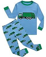 KikizYe Garbage Truck Little Boys Long Sleeve Pajamas 100% Cotton Pjs Toddler Sleepwears Size 4T