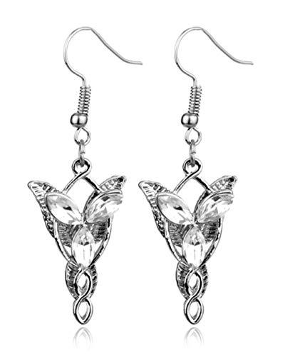 Señor de los Anillos Hobbit Pendientes Elven Arwen Evenstar Aleación Cristal Pendientes (Arwen Evenstar Pendientes)