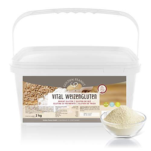 Vital Weizengluten 2 kg natürliches Verdickungsmittel rein pflanzlich | Weizeneiweiß | Seitan | kalorienarme Speisestärke | Backen und Kochen | Golden Peanut