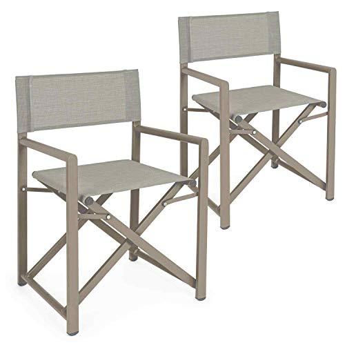 Set da 2 sedie regista in alluminio da giradino richiudibili, struttura in alluminio e textilene, coppia di poltrone, sedia regista da esterno (Ecru)