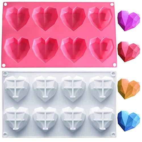 Silikonform 3D Diamant Herz, NALCY Schokoladenformen 8 Gitter, Cupcake - Herzen Silikonform, Silikonform mit Herzen groß für Muffins, 2 Packungen Backform