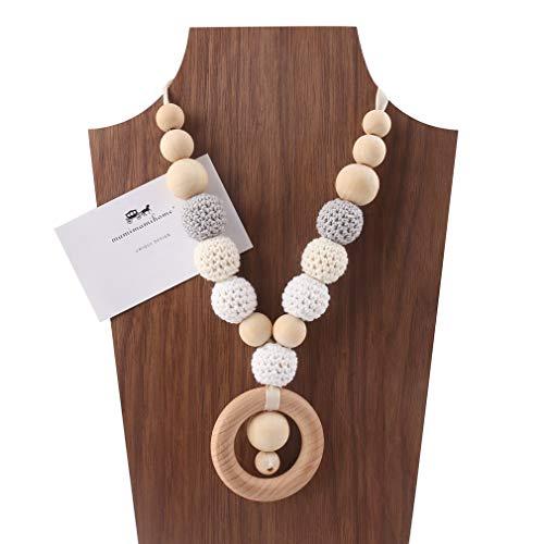 Mamimami Home Bambino Teether in legno Filettatura dell'uncinetto Perle masticabili Accessori per bambini Giocattoli dentici Collana da Allattamento
