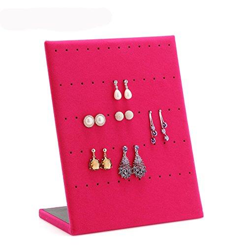 Ohrringhalter von Jecxep - Aus Samt, für 30 Paar Ohrringe, Vitrinenhalter, Schmuckhalter rose