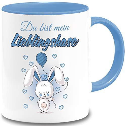 Tasse Ostern Du bist mein Lieblingshase Geschenk Osterhase Liebesbotschaft Spruch Becher Büro Geschenkidee (Hellblau)
