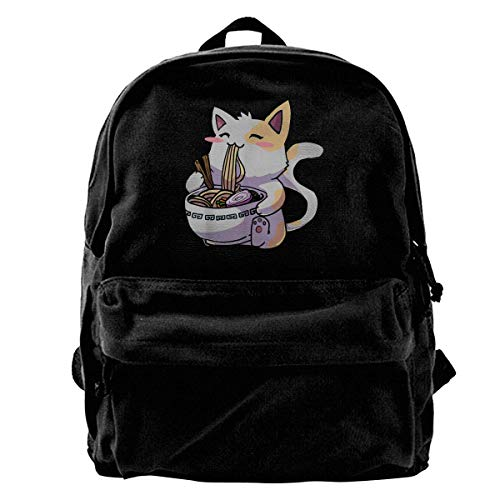 IUBBKI Mochila lateral negra Mochilas informales Zwinz Ramen Cat Kawaii Anime Japanese Gift Girls Boys Backpacks Canvas Book Bags