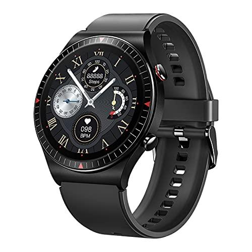 QFSLR Smartwatch, Reloj Inteligente Resistente con Monitor De Frecuencia Cardíaca Llamada Bluetooth Monitor De Presión Arterial Monitoreo De Oxígeno En Sangre Control De Música,Negro