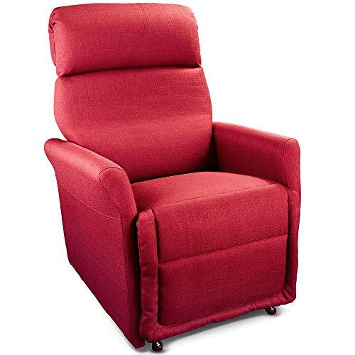 Goldflex Poltrona MOD. Ponza, Relax ALZAPERSONA Elettrica a 2 Motori con reclinazione Schiena/Gambe. Tessuto antimacchia Facile da Pulire. La più Piccola della Categoria-Colore Rosso, T