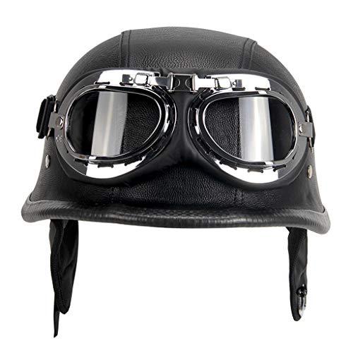 balikha Casco de motocicleta PU estilo de cuero negro motocicleta de cara abierta medio casco Chopper motorista piloto Scooter Cruiser Moto casco