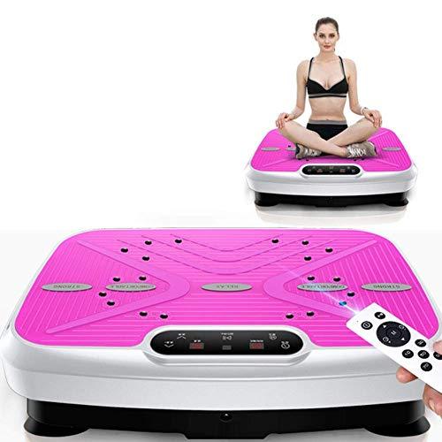 Vibratoria Power plate Placa de alimentación de equipamiento del hogar gimnasio placa vibratoria equilibrio de peso correas de control remoto y la resistencia correas incluidas lucar ( Color : Pink )