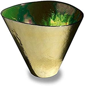 YourMurano, Jarrón veneciano alto artístico de lujo, decoración moderna, canal verde dorado