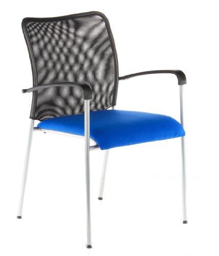 Buerostuhl24 668835 Konferenzstuhl / Besucherstuhl mito Net 4-er Pack / 4 Stühle, schwarz / blau