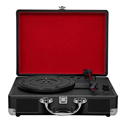 Tocadiscos de Vinilo Portátil con Altavoces Fonógrafo Vintage Sonido Estéreo Bluetooth Tocadiscos Inalámbricos Diseño de Maleta de Madera de Cuero PU de 3 Velocidades,Black