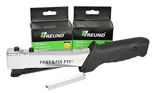 FREUND 01741911 Hammertacker Fast & Fix F 11 mit 10.000 Heftklammern, inkl. Gürteltasche