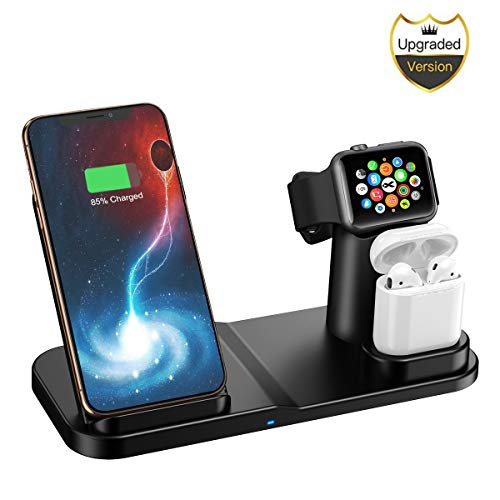 Cargador Inalámbrico Rápido Qi para Watch y airpod, Base de Carga Inalámbrica 3 en 1 Compatible para Phone 11/11 Pro/Samsung Galaxy S10 Plus/ S9 Xiaom 9/ MIX3/MIX2S/Huawei Mate RS/20 Pro/P30 Pro