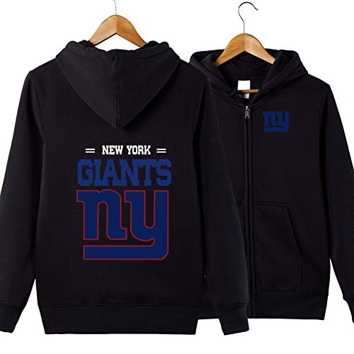 Männer Hoodie-New York Giants Football Team Zipper Cardigan Uniform Pullover, Langarm-Sweatshirt Fall Sweatshirt Fan Jersey,Schwarz,M