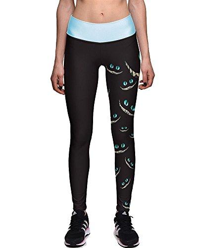 SaiDeng Donna Elastico Yoga Fitness Sportivo Leggings Modello Occhi Stampato S