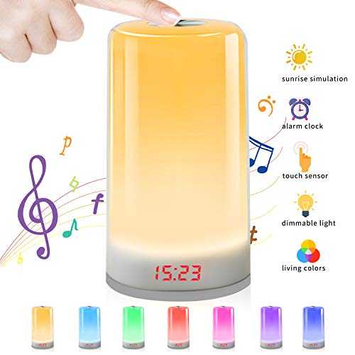 Wake Up Light,Despertador Luz Oxford Street LED Despertador Wake Up Clock Amanecer Simulación,Función Snooze,7 Luces de Colores +Cable USB,5Sonidos Naturales,Apto para niños y adultos. (no recargable)