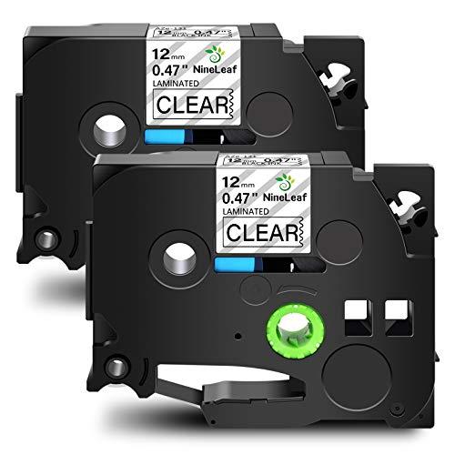 NineLeaf 2 Pack Compatible for Brother TZ TZe TZe-131 TZe131 TZ-131 TZ131 Label Tape 12mm 1/2'' Black on Clear Standard Laminated Labeling Work with P-Touch PT-D210 PTD400AD PTH110 PT-D600 Label Maker