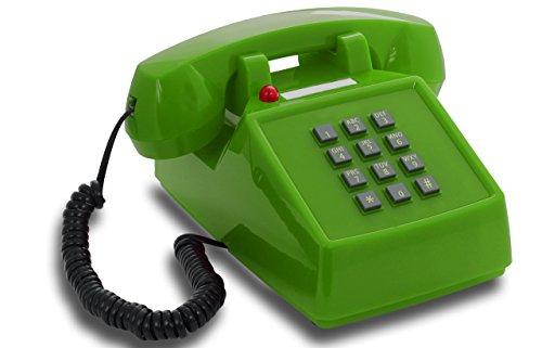 OPIS PushMeFon cable: 1970 geïnspireerde vaste lijn drukknop retro telefoon met metalen bel (groen)