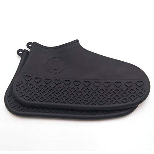 KONNEN Glissement de randonnée résistance à la Pluie en Plein air Silicone imperméable Surchaussures Protection Contre la poussière de Chaussures résistant pour Les Souliers Femmes,Noir,L