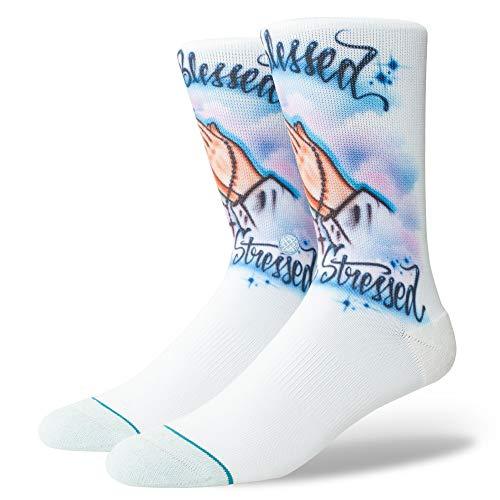 Stance Socks Airbrush Heureux Chaussettes en Bleu Avec Piqué en Jersey Éponge Boucle Arc Support Sans Couture Toe Fermeture Renforcé Talon et Des Orteils - L