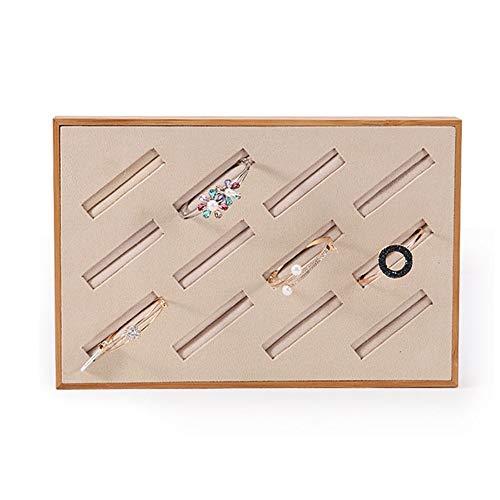 Contactsly-fashion Schmuckkästen Schmuckschatullen Bamboo Velvet Armreif Display Tray Counter Schmuckschatulle Schmuck Aufbewahrung (Design : Large, Größe : Bamboo)