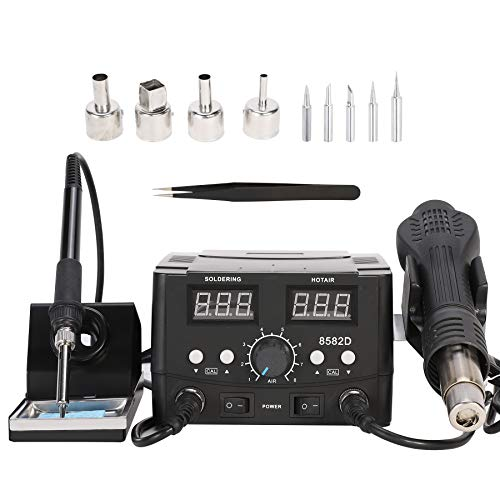 CO-Z Soldering Rework Station with Hot Air Heat Gun, 750W 2 in 1 SMD Rework Soldering Station, Digital Solder Iron Station Welding Tool Kit with Heat Gun Set for Electronics Computer Repairing