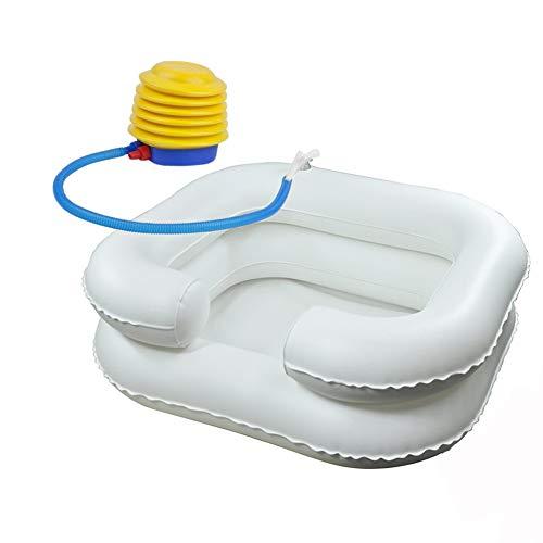 SUN RNPP Shampoobehälter & Schalen Aufblasbar waschbecken Faltbare tragbare betthaarwäsche für behinderte, ältere Menschen, Schwangerschaft, postoperativer Patient, weiß