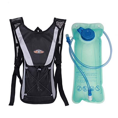VLUNT HOME Sac à Dos D'hydratation Sac à Dos De Course avec Sac à Dos De Sport Pliable pour Vessie d'eau 2L pour Vélo Randonnée Randonnée Camping Vélo (Bla)
