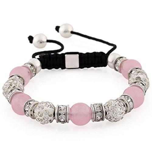 Morella® Damen Armband Schmucksteine und Zirkonia Strass verstellbar Silber - rosa