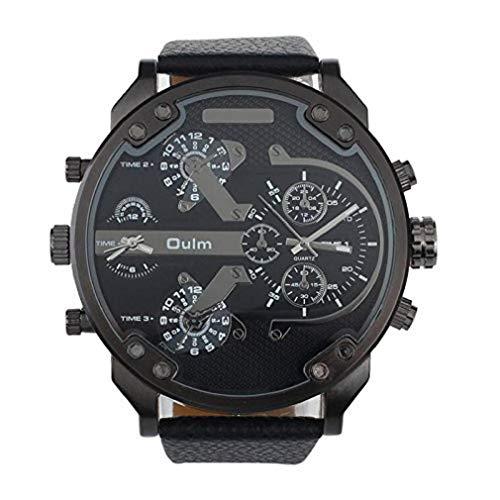 Kaitoly Fashion Armbanduhr, luxuriös, Militär Armee Dual Time Quarz großes Zifferblatt Armbanduhr Oulm, Herren Damen, Schwarz