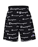 Champion Boys French Terry Short Kids Clothes (Black AOP Script, Medium)