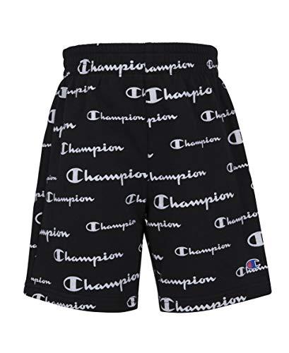 Champion Boys French Terry Short Kids Clothes (Black AOP Script, X-Large)