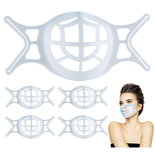 Silicone 3D Mask Bracket for Comfortable Breathing- Face Mask Bracket Internal Support Frame with Hooks - for Masks Protector Lipstick- Cool Mask Guard  Washable Reusable 5Pack white