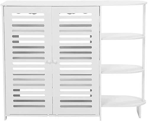 WSWJ Zapato Junta de plástico Blanco Caja de Madera de Almacenamiento en Rack Organizador Armario La Mitad de la Esquina, 94x76x31cm