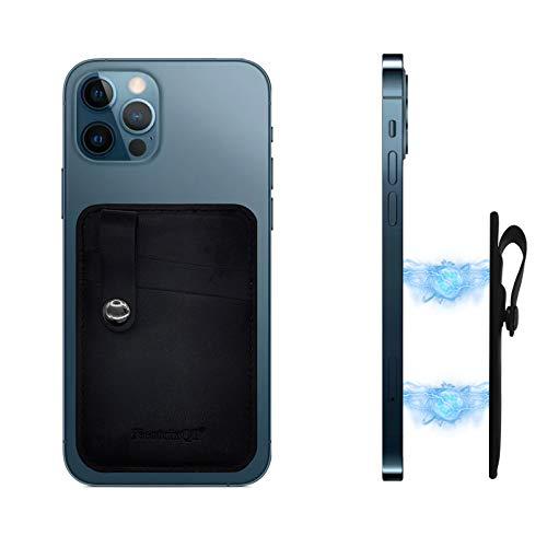 Tarjetero Movil Magnética de Piel para la Parte Trasera del teléfono Compatible con iPhone 12 12 Pro 12 Pro MAX 12 Mini mag Safe (Negro)