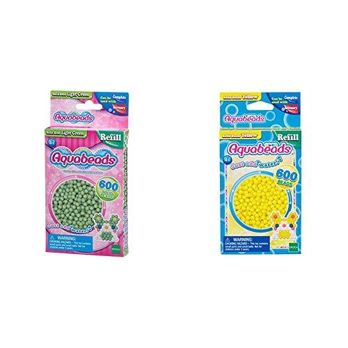 Aquabeads 32538 Perlen Bastelperlen nachfüllen hellgrün & 32528 Perlen Bastelperlen nachfüllen gelb