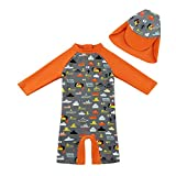 upandfast Toddler Long Sleeve UPF 50+ UV Protective Swimsuit Bathing Suit for Baby Boy (Gray, 24-36 Months)