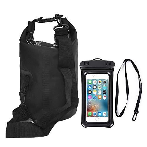 Waterdichte tas, 10 l, verstelbare schouderriem, wateremmer + grote waterdichte telefoontas, geschikt voor kajak/boottochten/vissen (zwart)