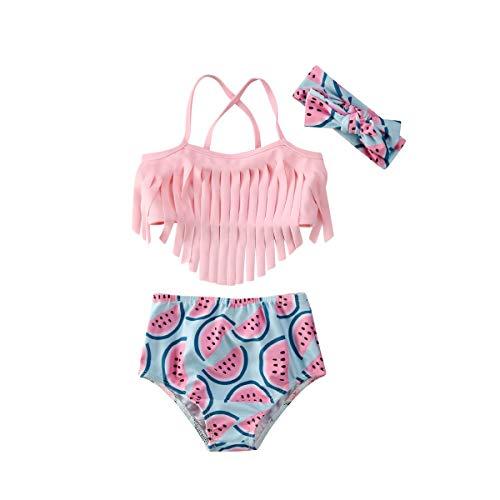 BriskyM Badeanzüge für Mädchen 3 Stück Baby Girl Bikini Badeanzüge Quaste Halfter Wassermelone Bikini Set Stirnband Badeanzug Sommer Outfits (Rosa, 0-6Monate)