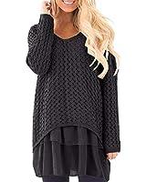 GIKING Women's Casual Blouse Long Sleeve Top Tunic T-Shirt Lace Dress with Chiffon Black UK 12 = Size M