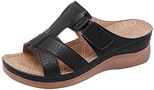 Sandalias de Verano para Mujer Sandalia de Cuero con Plataforma y cuña Transpirable Transpirable, Antideslizante, Resistente al Desgaste,Negro,37