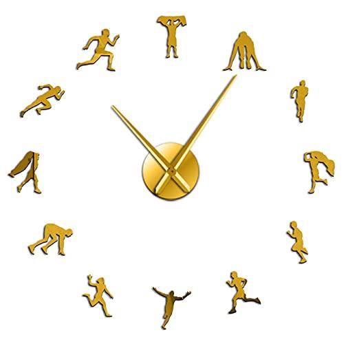 Reloj de pared con diseño de carrera, atleta y retrato autoadhesivo 3D DIY Pared Reposapiés Sportsman Track and Field Theme Oro 47 pulgadas