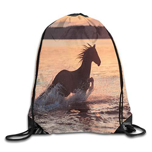 Drawstring Gym Bag Backpack,Horse Sea At Sunset Time Horizon Speed Exotic Nature Animal Picture Art,Rucksack for School Sports Travel Women Children Birthday Present