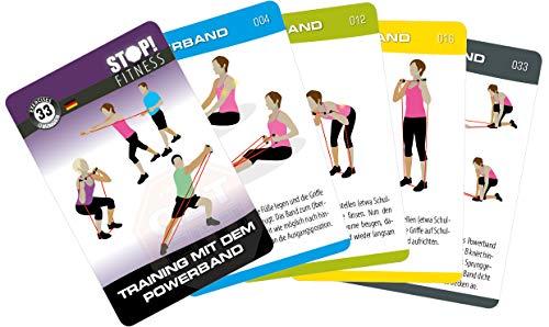 STOP! Fitness   Training mit dem Powerband   Trainingskarten Übungskarten, deutsche Version, Kartengröße 66 x 100 mm mit Kunststoffbox